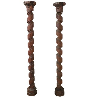18th Century Italian Fir Wood Carved Pair of Columns For Sale