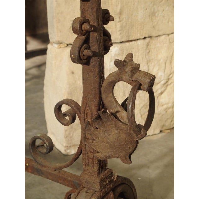 Pair of Tall Antique Forged Andirons from Antwerp Belgium, Circa 1870 For Sale - Image 4 of 9