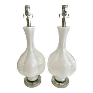 White Murano Glass Tall Vase Lamps With Lucite Bases - a Pair For Sale