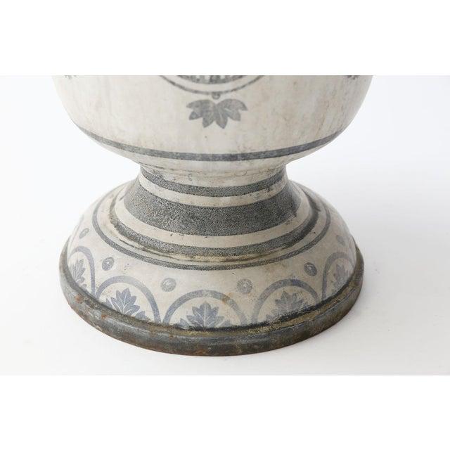 White Enameled Cast Iron Rouen Urn For Sale - Image 8 of 13