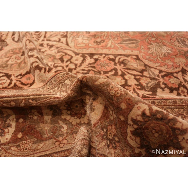 Textile Antique Persian Tabriz Dusty Rose Rug - 13′7″ × 17′ For Sale - Image 7 of 8