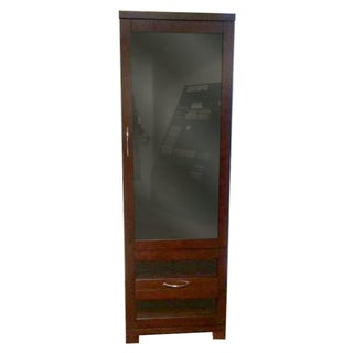 Dark Wood Lighted Display Cabinet For Sale