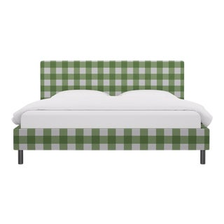King Tailored Platform Bed in Mint Check For Sale