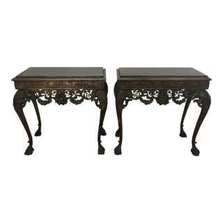 1900s Italian Marble Top Carved Console Table - a Pair