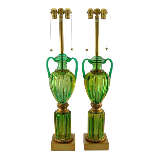 Marbro Murano Glass Table Lamps Green For Sale