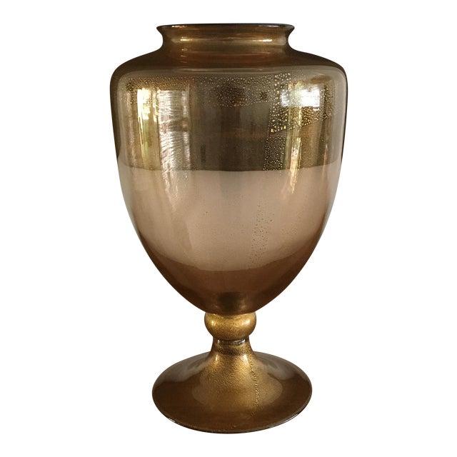 Amber Gold Flake Donghia Glass Murano Vase Chairish
