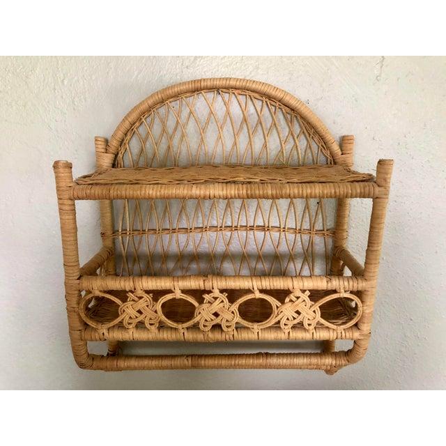 Boho Chic 20th Century Boho Chic Wrapped Woven Natural Wicker Rattan Bathroom Shelf For Sale -