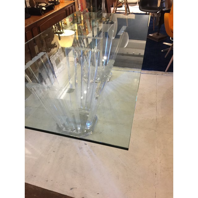 1980s Vintage Lucite Double Pedestal Glass Top Dining Table For Sale - Image 10 of 11