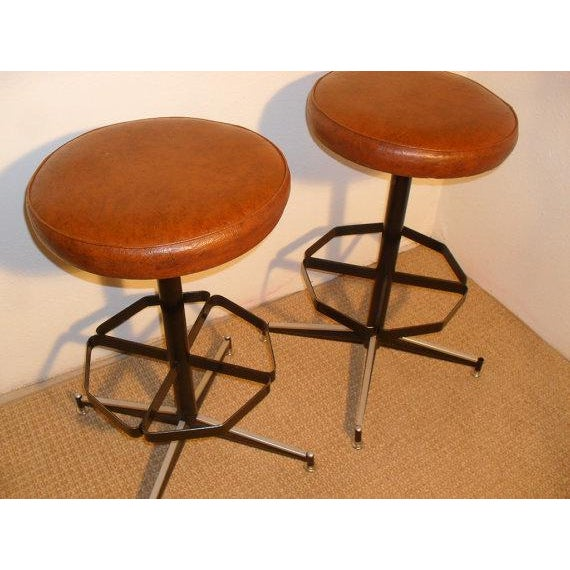 Vintage Mid-Century Modern Upholstered Iron Bar Stools -- A Pair - Image 3 of 5