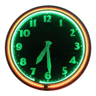 20th Century Neon Clock For Sale