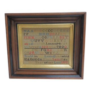 Vintage Alphabet Hand Embroidery Sampler on Antique Wood & Golden Frame