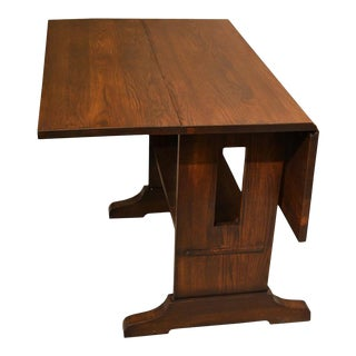 Crafters and Weavers Mission Solid Oak Drop Leaf Dining Table - Walnut (W1) For Sale