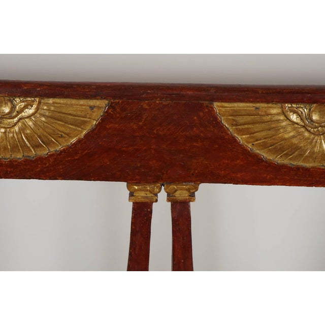 Wood Italian 'Egyptian' Style Parcel Gilt and Painted Settee, Circa 1805 For Sale - Image 7 of 11