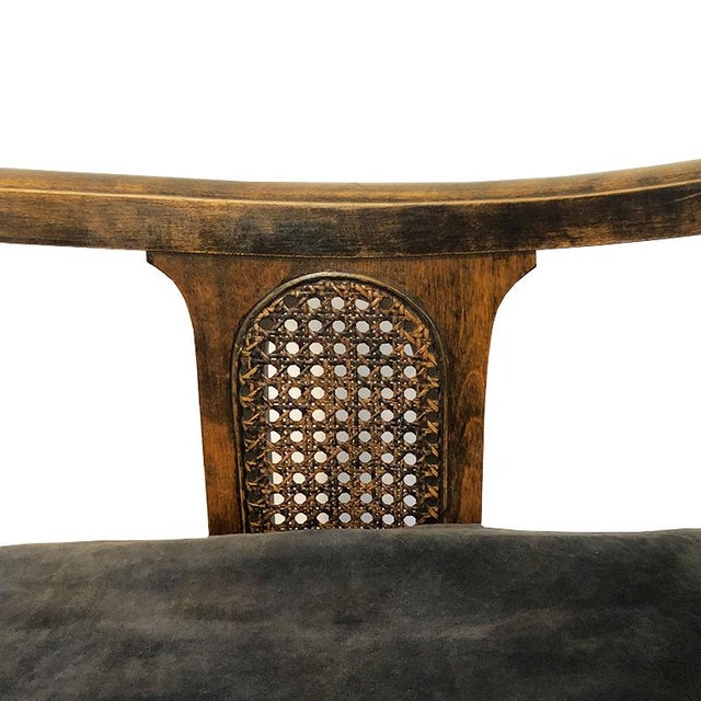 Wood 1900s Chippendale Colonial Style Cane Back Carved Wood Blue Fortuny Style Velvet Fabric Settee Antique Sofa or Daybed For Sale - Image 7 of 10