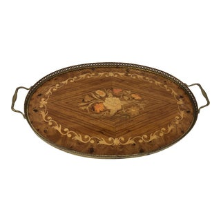 Vintage 1980s Italian Inlaid Oval Serving Platter Tray For Sale