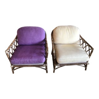 McGuire Bamboo Cathedral Armchairs - A Pair