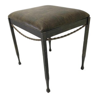 Vintage Artisan Wrought Iron Stool With Faux Lizard Fabric For Sale