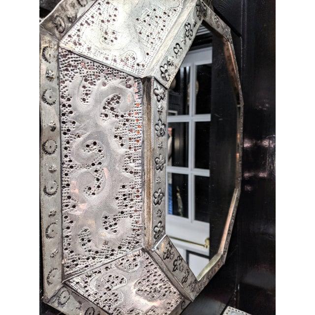 Moroccan 1960s Vintage Moroccan Metal Mirror For Sale - Image 3 of 6