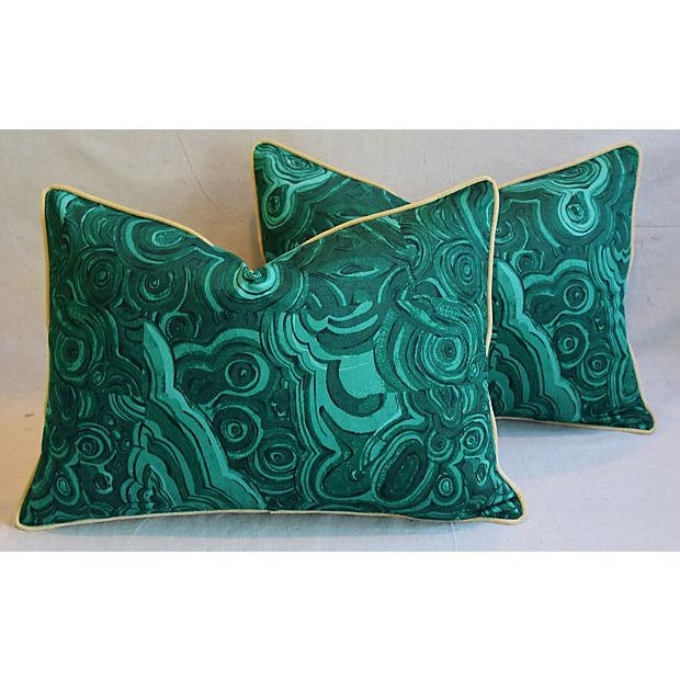 """25"""" X 18"""" Custom Tailored Jim Thompson Malachite Green Feather/Down Pillows - Pair For Sale - Image 10 of 11"""