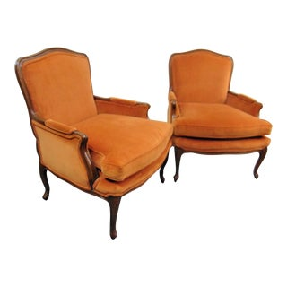 Louis XV Fruitwood Orange Velvet Bergeres - a Pair For Sale