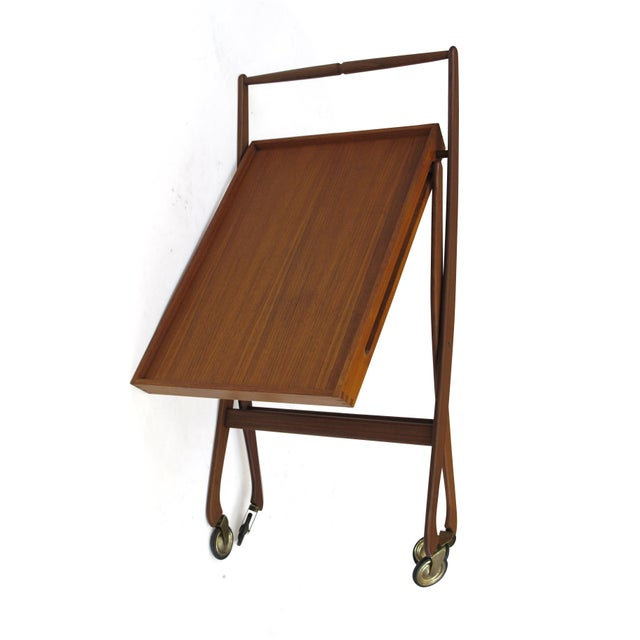 Brass Danish Teak Folding Bar Cart For Sale - Image 7 of 8