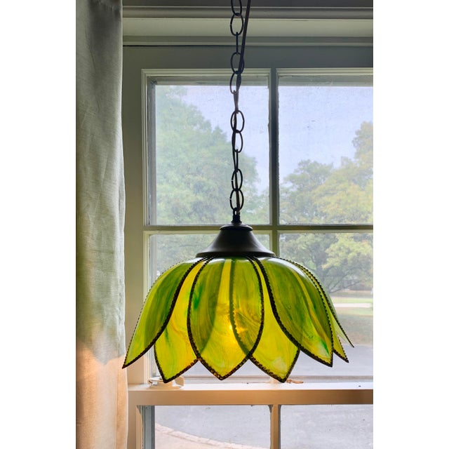 "Fantastic vintage lotus / tulip style flower lamp for your Boho Decor! Nice swirled green variations giving it a ""stained..."