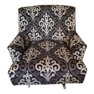 1960s Hollywood Regency Black and Silver Swivel Rocking Chair For Sale