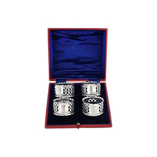 Antique Sterling Silver Napkin Rings, D. 1906 - Set of 4 For Sale