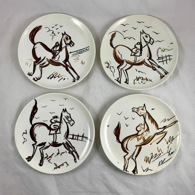 Ed Langbein Mid-Century Modern Hand Painted Italian Jockey on Horses Plates, S/8 For Sale - Image 4 of 13