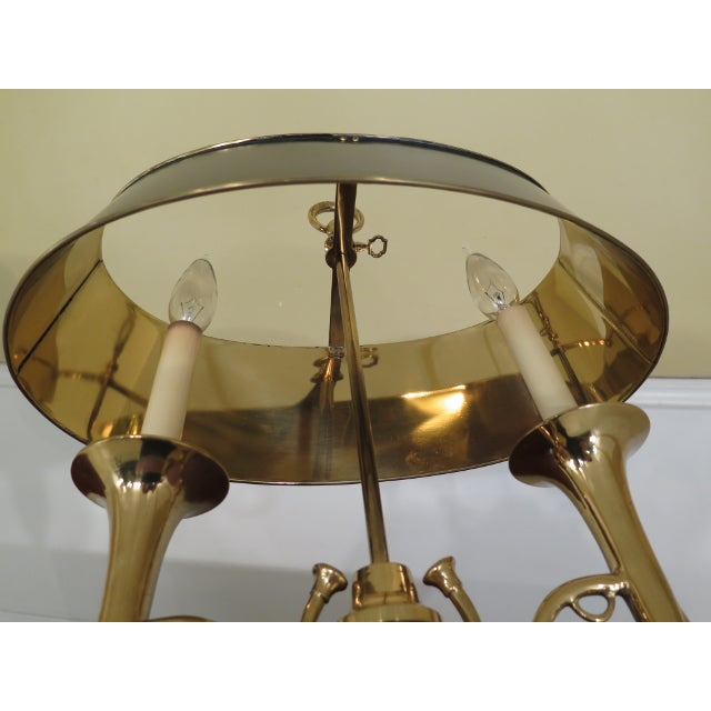 Gold Brass Double Candelabra Trumpet Arm Desk Lamp For Sale - Image 8 of 9