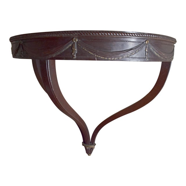 Antique Wall-Mounted Demi-Lune Table, Carved Mahogany With Gilt Accents - Image 1 of 9