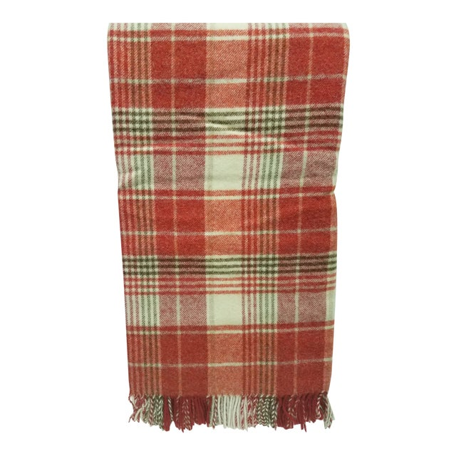Wool Throw Reds Black White Plaid - Made in England For Sale