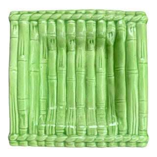 1960's Green Bamboo Ceramic Square Catchall Dish For Sale