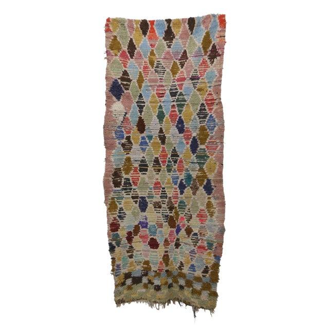 1970s Vintage Boujad Moroccan Rug - 2′11″ × 7′1″ For Sale