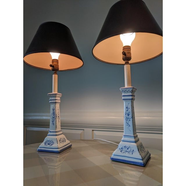 A Pair- Portugal Ceramic Blue and White Buffet Table Lamps For Sale - Image 9 of 13