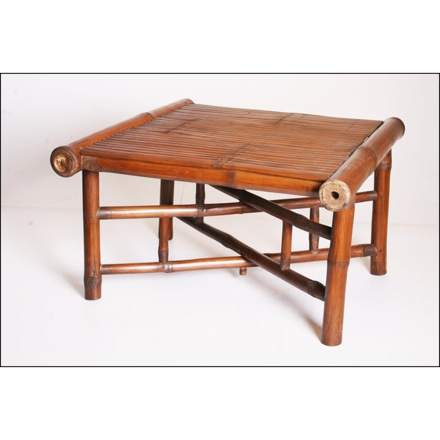 Vintage Brown Bamboo Coffee Table - Image 3 of 11