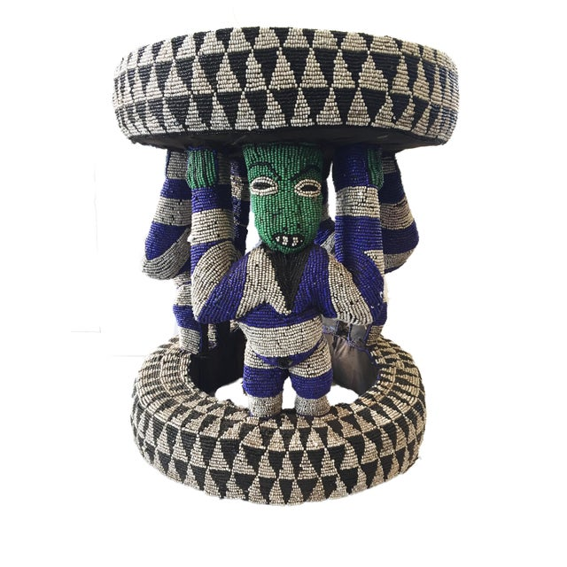 "Blue African Beaded wood Bamileke Stool /Table Cameroon 19'""H For Sale - Image 8 of 12"