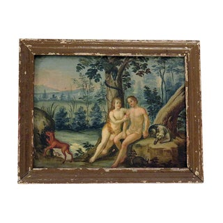 Mid 19th Century Dutch Naive Adam and Eve Oil Painting For Sale