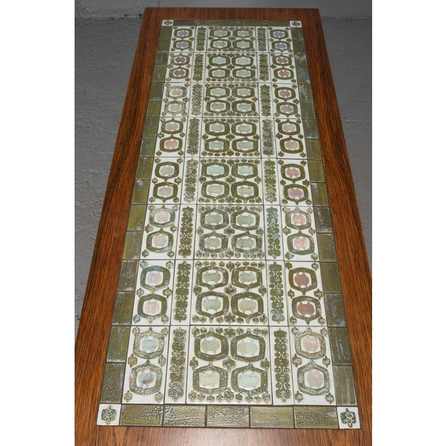 Rosewood and Green Tile Coffee Table For Sale - Image 4 of 10