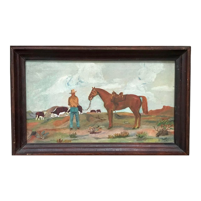 1940 S Cowboy Folk Art Acrylic Painting By Payne