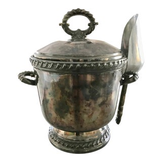 Vintage Wallace Ornate Garland Floral Embellished Silver Ice Bucket With Aluminum Scoop and Thermos Lining
