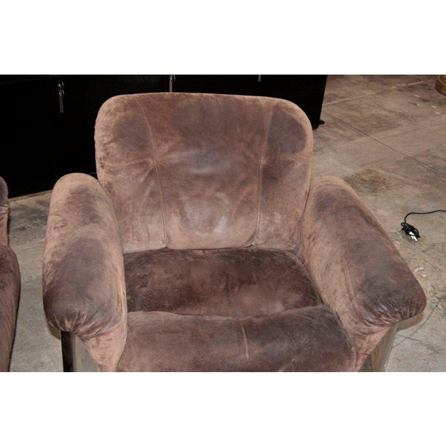 Pair of Italian Leather Armchairs with Chromed Steel Bases For Sale In Los Angeles - Image 6 of 9