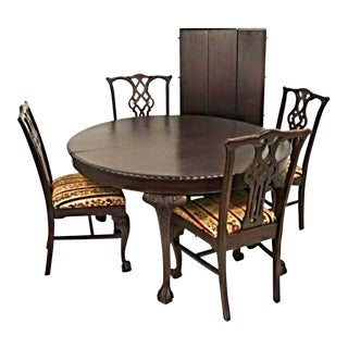 Antique Refinished Chippendale Round Table 3 Leaves 4 Side Chairs - Dining Set