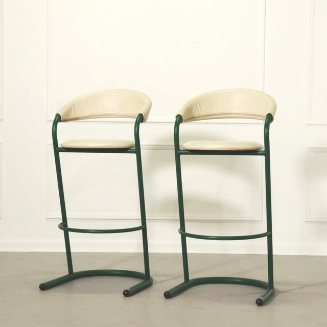 Green Cantilever Tubular Bar Stools - Pair For Sale - Image 4 of 8