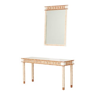 Final Markdown Maitland-Smith Postmodern Tessellated Console & Mirror