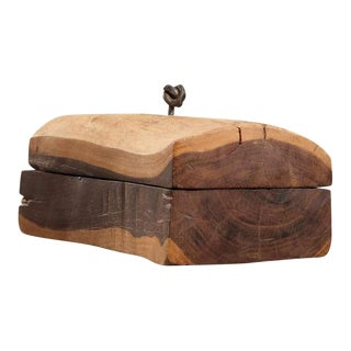 Wooden storage box by Betrand For Sale