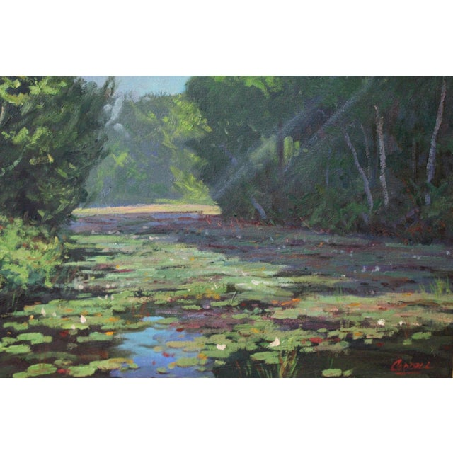 Impressionism Caddell Spring Marsh Oil Painting For Sale - Image 3 of 8