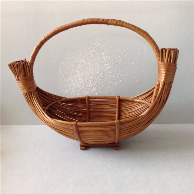 Rustic Vintage Handmade Wicker Rattan Basket For Sale - Image 3 of 9