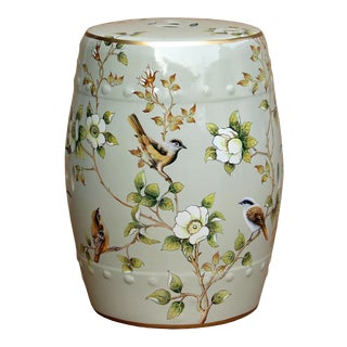 Modern Oriental Pastel Light Green Porcelain Bird Flower Round Stool Ottoman