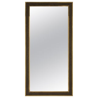 Italian Mid-Century Brass and Burl Wood Framed Mirror